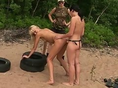 Two obedient army girls fucking under control
