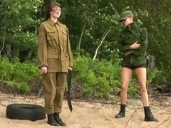 Nude lesbian soldier exercised and fucked