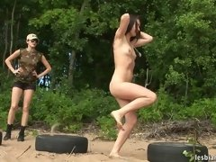 Obstacle course and creep by a nude army gal