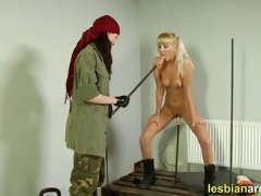 Military slut fucked with dildos on the sticks