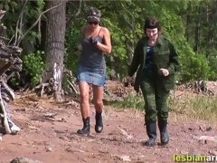 Lesdom sergeant drills and fucks a nude swaddie