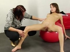 Naked sport girl and her lesbian fat instructor