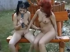 Lesbo chick dildos her girlfriend