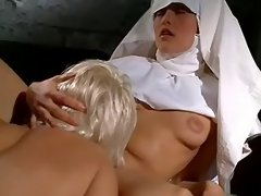 Lesbo nun licks her mother superior in stockings
