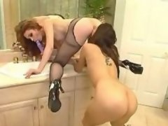 Brunette lesbian licks out whore