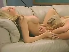 Young blonde lezzies with perky tits make oral sex
