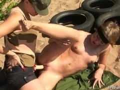 Army lesbian with a strapon brutalizes a soldier