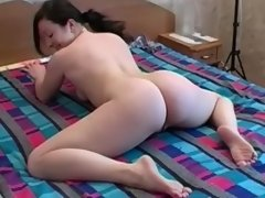Naked babe performs several exciting exercises